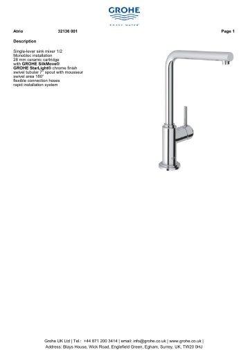 Description Single-lever sink mixer 1/2 Monobloc ... - GROHE