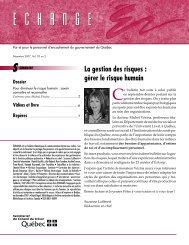 La gestion des risques : gérer le risque humain - Secrétariat du ...
