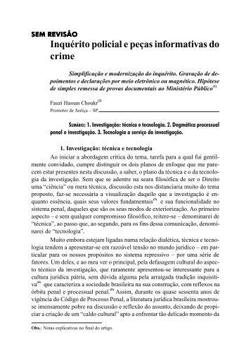 Inquérito policial e peças informativas do crime - Revista Justitia