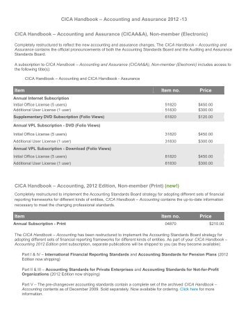 CICA Handbook – Accounting and Assurance 2012 -13 CICA ...