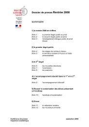 Dossier de presse Rentrée 2008 - Inspection académique du ...