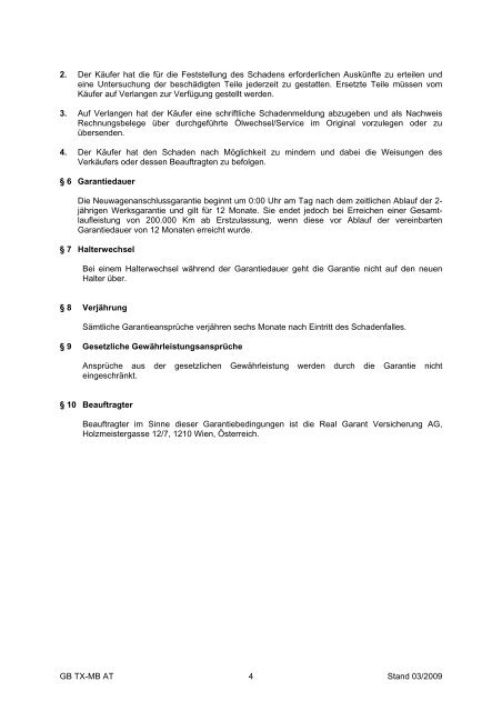 Garantiebedingungen Hausgarantie Premium ... - Mercedes Benz