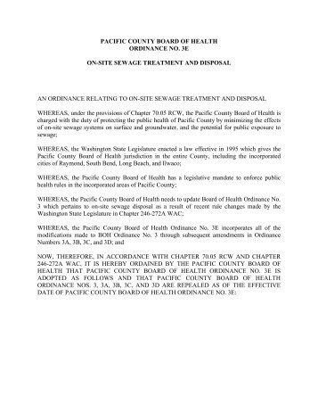 Board of Health Ordinance No. 3E - Pacific County Government