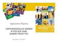 Prezentacja Raportu 2008 - Forum Odpowiedzialnego Biznesu