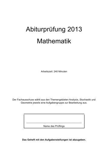 Abiturprüfung im Fach Mathematik - ISB
