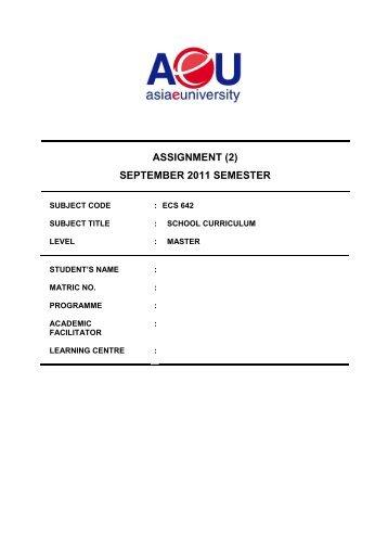 ASSIGNMENT (2) SEPTEMBER 2011 SEMESTER