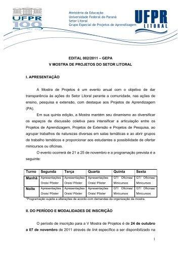 1 EDITAL 002/2011 – GEPA V MOSTRA DE PROJETOS DO SETOR ...