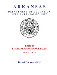 State Performance Plan of Arkansas - ADE Special Education