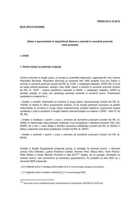 Zakon o spremembah in dopolnitvah Zakona o avtorski in sorodnih ...