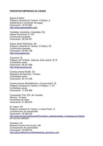 Directorio das principais empresas (documento pdf) - Concello de ...