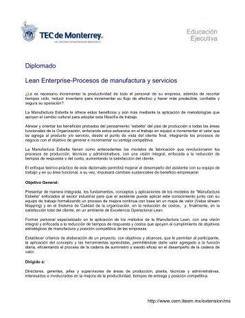 Diplomado Lean Enterprise-Procesos de manufactura y servicios