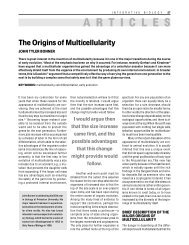 The origins of multicellularity