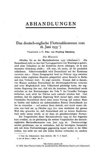 Das deutsch-englische Flottenabkommen vom - Zeitschrift für ...