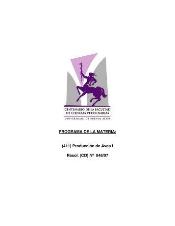 PROGRAMA DE LA MATERIA: (411) Producción de Aves I Resol ...