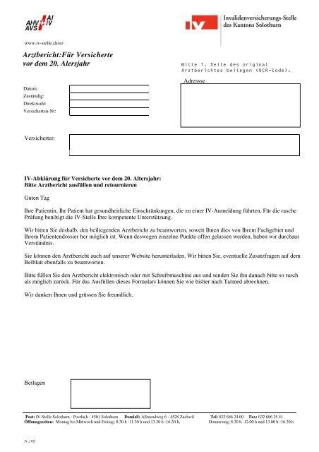 Arztbericht für Versicherte vor dem 20. Altersjahr - IV-Stelle des ...