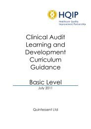 Standard Curriculum for clinical audit learning and ... - HQIP
