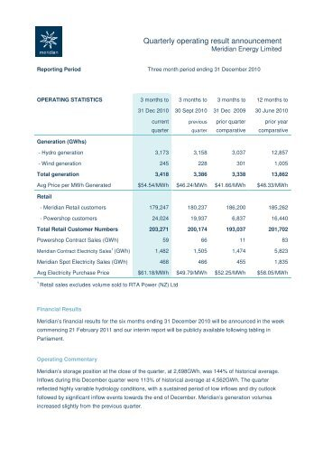 Quarterly operational report December 2010 - Meridian Energy