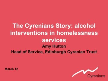 alcohol interventions in homelessness services. - Edinburgh ...