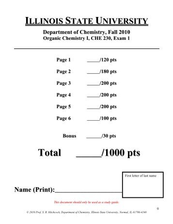 CHE 230 Exam 1 _Fall 2010 - Department of Chemistry - Illinois ...