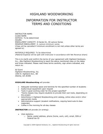 PDF Contract - Highland Woodworking