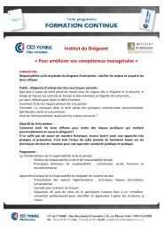 Institut du Dirigeant - (CCI) de l'Yonne