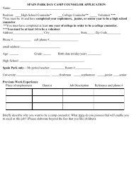 spain park day camp counselor application - Hoover City Schools
