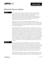 Wholesale Electric Market - American Public Power Association