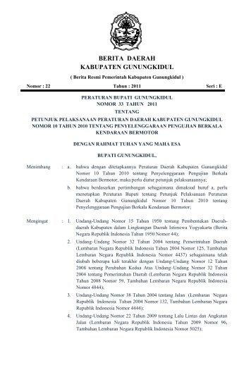 Peraturan Bupati No 33 Tahun 2011 tentang Petunjuk - Gunungkidul