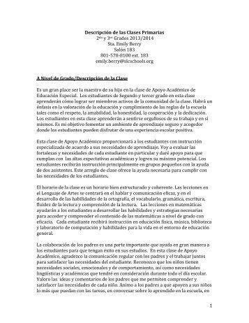 1 Descripción de las Clases Primarias 2do y 3er Grados 2013/2014 ...