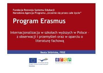 Internacjonalizacja szkół wyższych wczoraj, dziś i jutro. - Erasmus