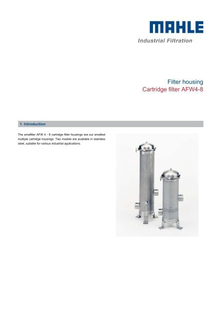 Filter housing Cartridge filter AFW4-8 - MAHLE Industry - Filtration