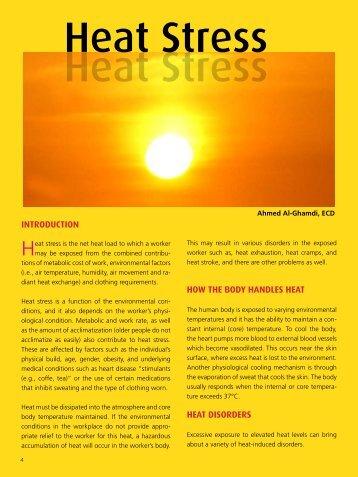 heat stress risk assessment We can provide advice and guidance to industrial clients on the assessment and management of the risk of heat stress of heat strain risk of heat -related.