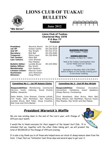2012 June Bulletin - Lions Clubs New Zealand