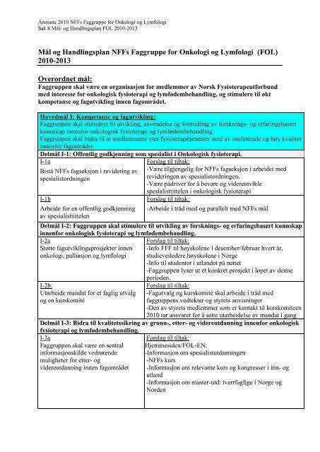 Vedlegg 6 MÃ¥l og Handlingsplan FOL 2010-2013.pdf - Norsk ...