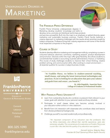 Download the Marketing program sheet - Franklin Pierce University