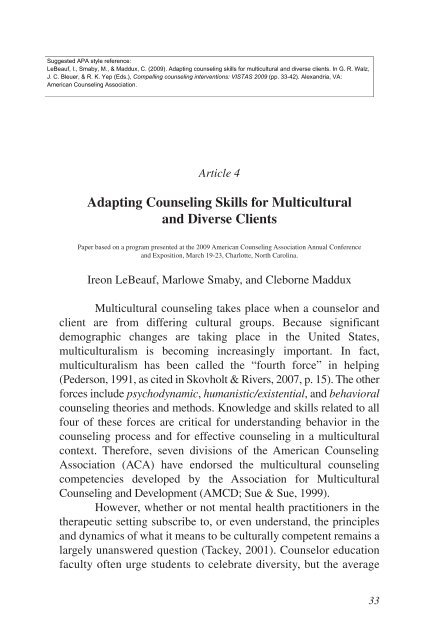 Adapting counseling skills for multicultural and diverse clients.