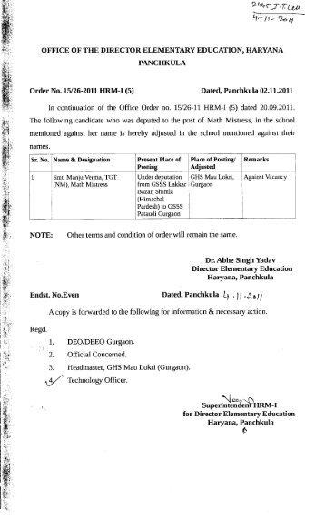 Dated, Panchkula, the - Directorate of School Education, Haryana