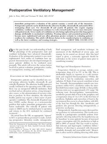 Postoperative Ventilatory Management* - Portal Saude Brasil . com