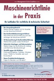 Seminar: Maschinenrichtlinie in der Praxis - Management Circle AG