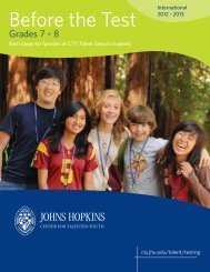 Before the Test - Johns Hopkins Center for Talented Youth - Johns ...