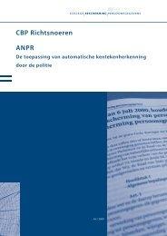 CBP Richtsnoeren ANPR - College bescherming persoonsgegevens