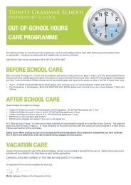 Out of Hours Care Form - Trinity Grammar School