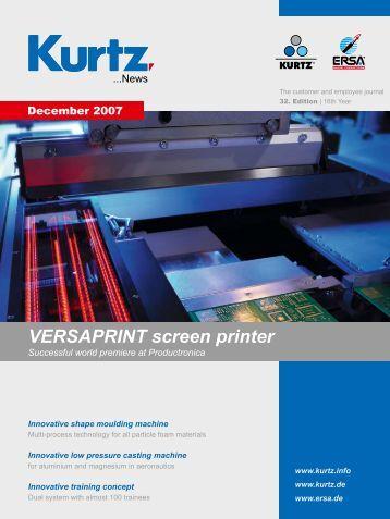 VERSAPRINT screen printer - the kurtz ersa Corporation