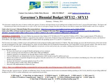 Summary of the Governor's Biennial Budget Recommendations for ...
