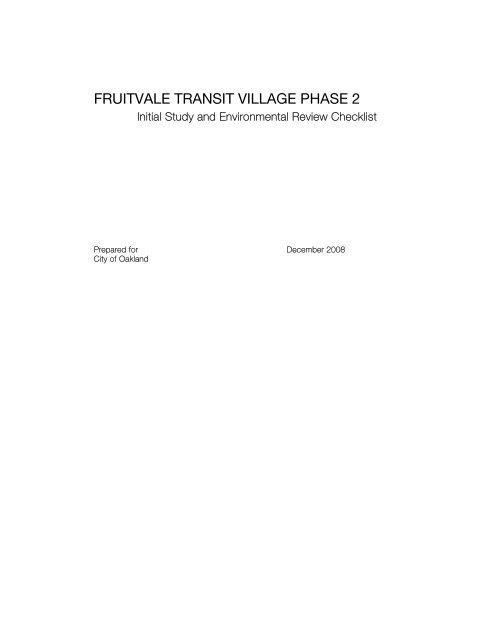 Fruitvale Transit Village (Phase 2) Initial Study - City of Oakland