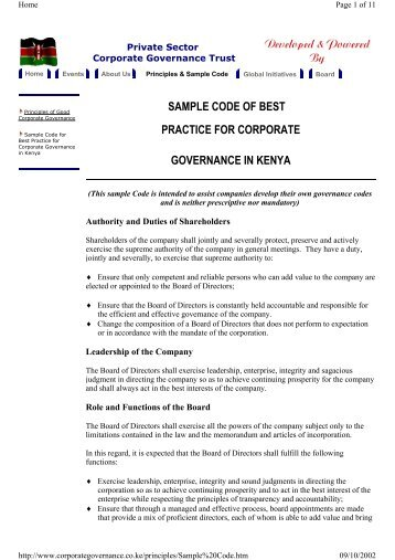 sample code of best practice for corporate governance in kenya