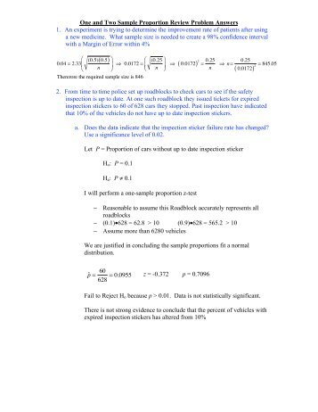 10 One and Two Sample Proportion Review Problem Answers