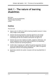 Unit 1 – The nature of learning disabilities