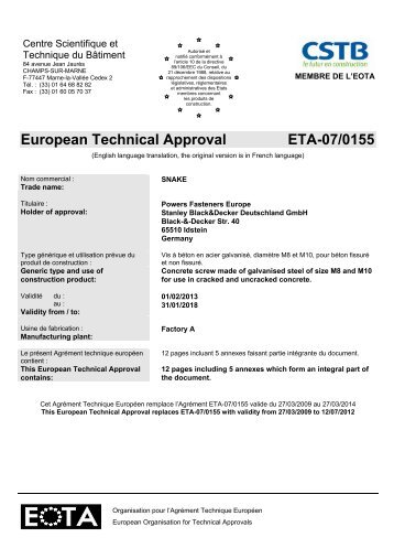 European Technical Approval ETA-07/0155