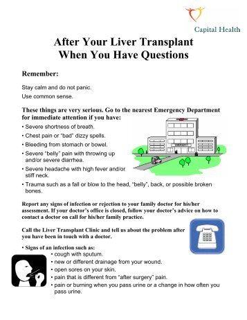 After Your Liver Transplant When You Have Questions - Mydoctor.ca